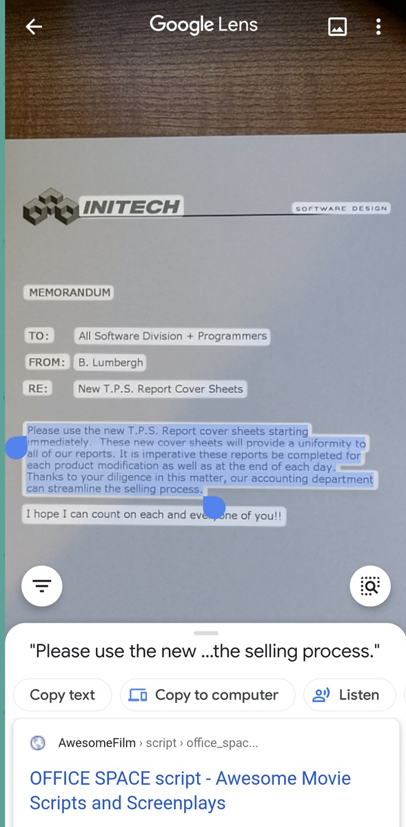 Example selection of text captured from the real world