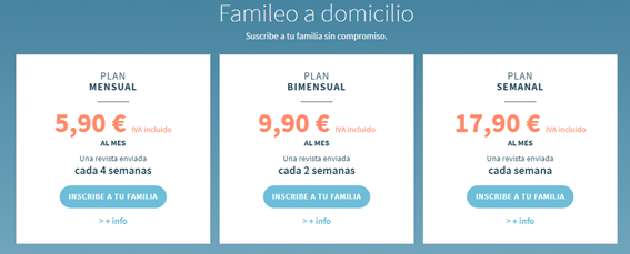 Prices of the different monthly subscriptions to Famileo