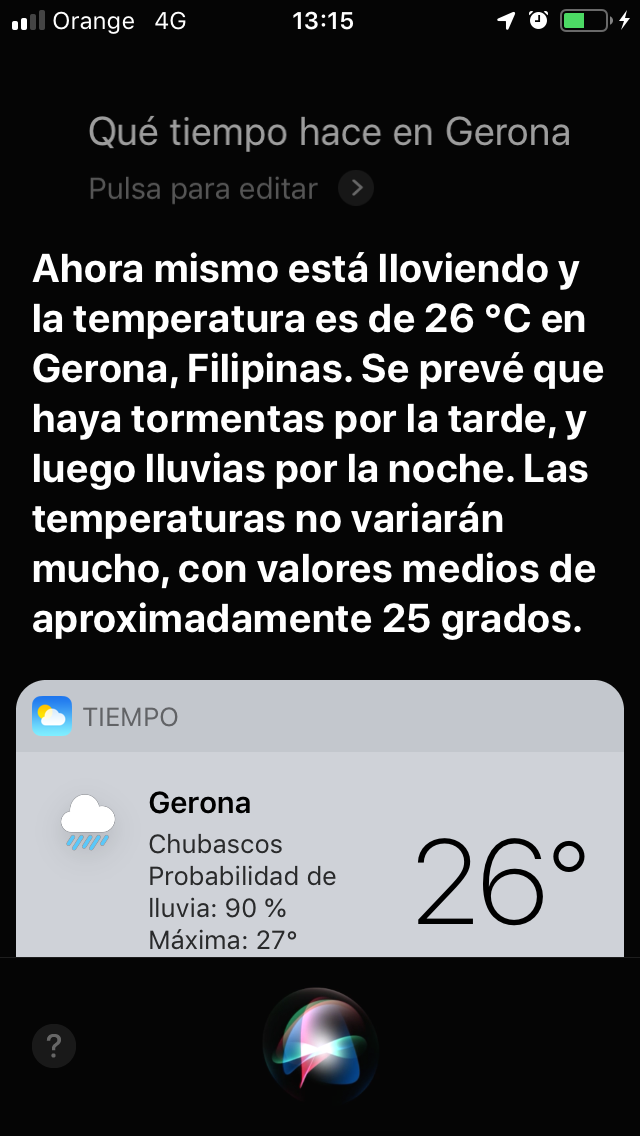 Screen that shows the weather in Gerona