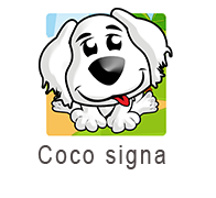 Coco signa logo, is the image of a white dog