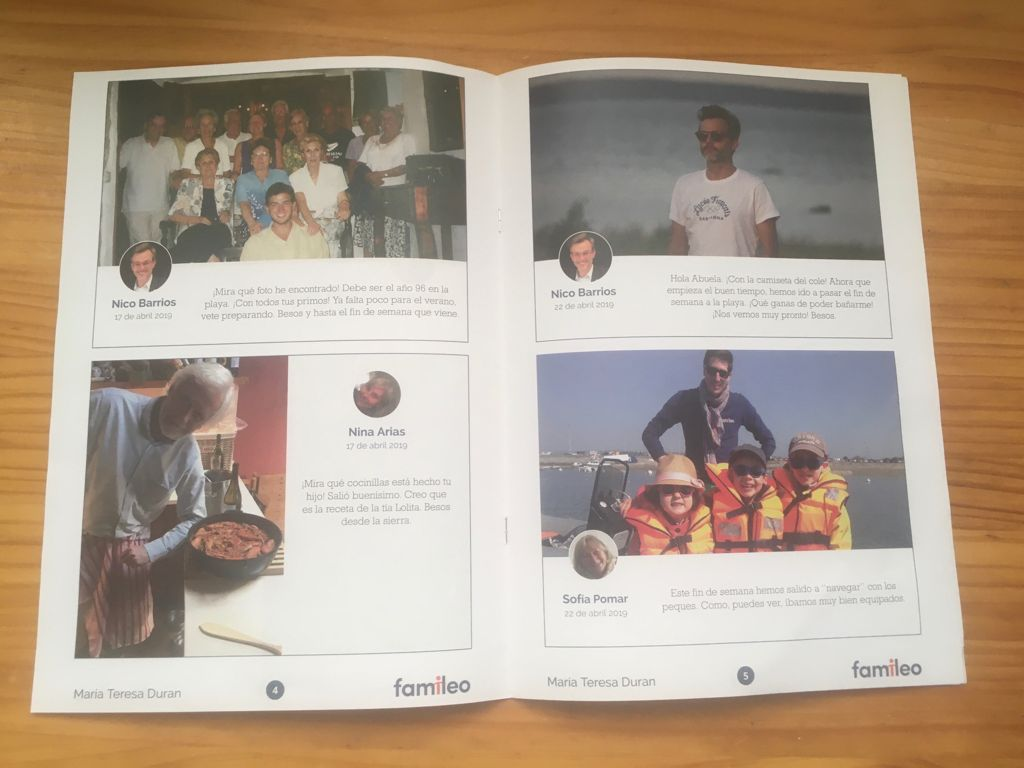 Image showing page 4 and 5 of the Famileo magazine written by María Teresa Duran