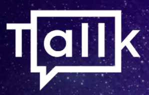 """icon that can be read """"all"""" within a rectangular speech bubble preceded by a 'T' and followed by a 'k' forming """"TALLK"""" on a starry background"""