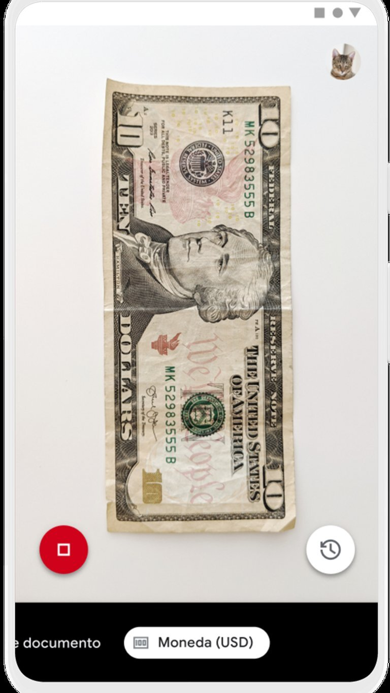 Banknote scan mode example
