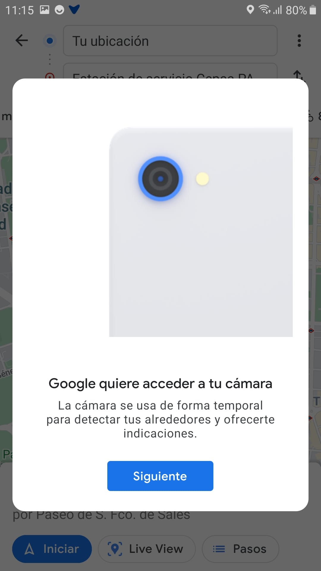 """Screenshot of a pop-up window of the app whose message is the following: """"Google wants to access your camera. The camera is used temporarily to detect your surroundings and give you directions"""""""