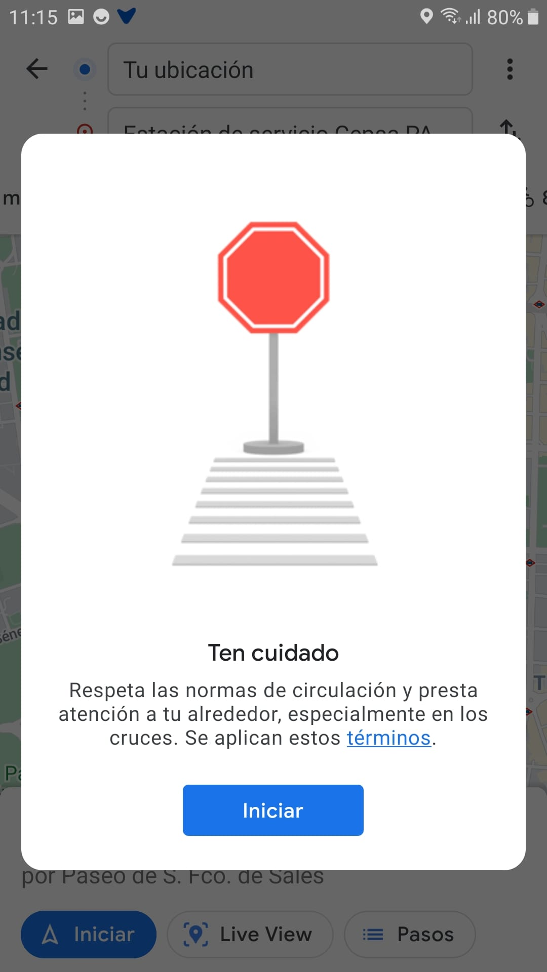"""Screenshot of a pop-up window of the app whose message is the following: """"Be careful. Respect the traffic regulations and pay attention to your surroundings, especially at crossings."""""""