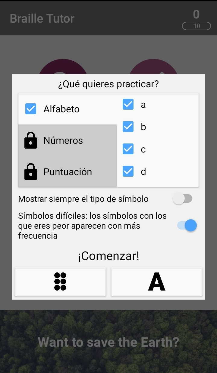 Braille Tutor Practice section interface