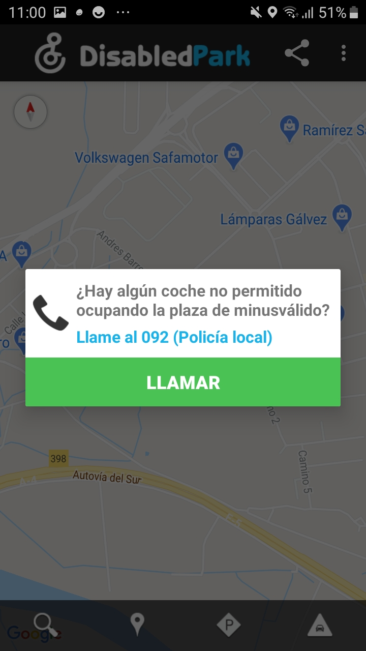 Example busy parking report to the police