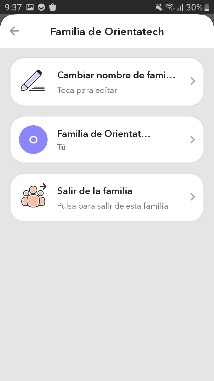 Family management interface