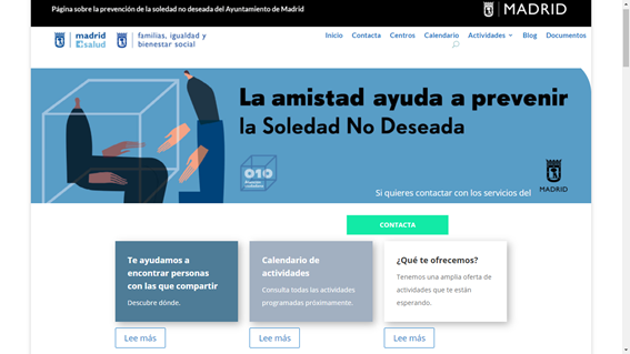 Image of the home page of the soledadnodeseada.es website