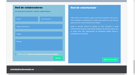 Image that shows brief information about the volunteer network and the form to fill out to participate and collaborate in the network of collaborators