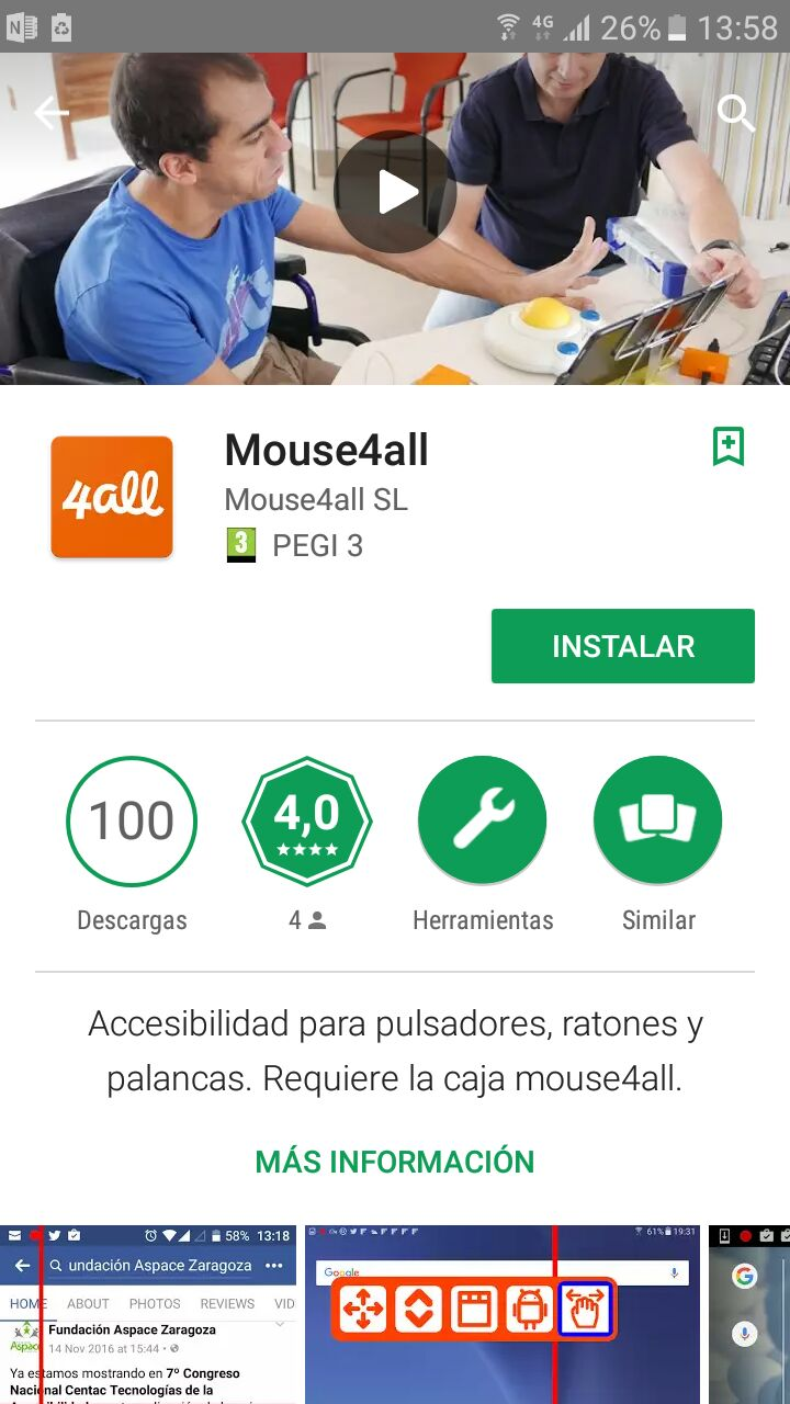 Pantalla de descarga de GooglePlay de Mouse4all