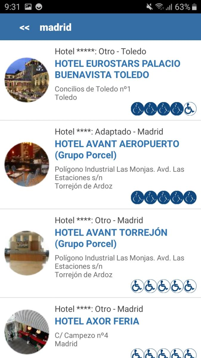 Example List of Available Accommodations Filtered in Madrid