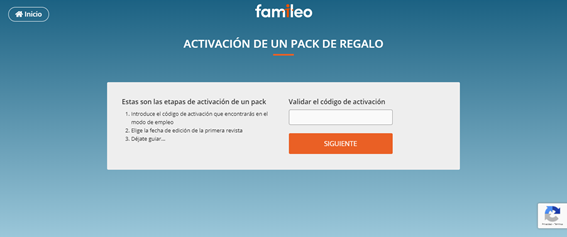 Activation of a Famileo gift pack through a code