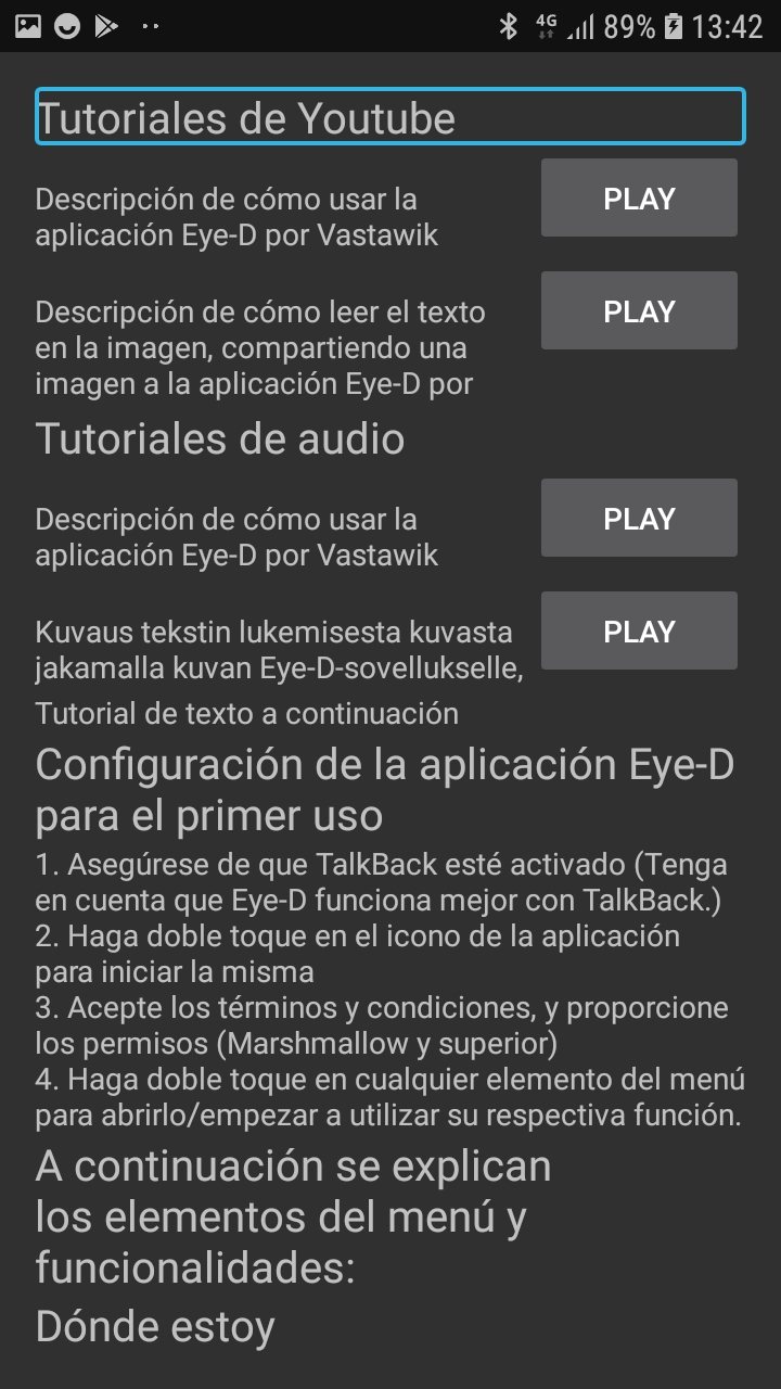 Pantalla con enlaces a tutoriales y el manual en texto en Android
