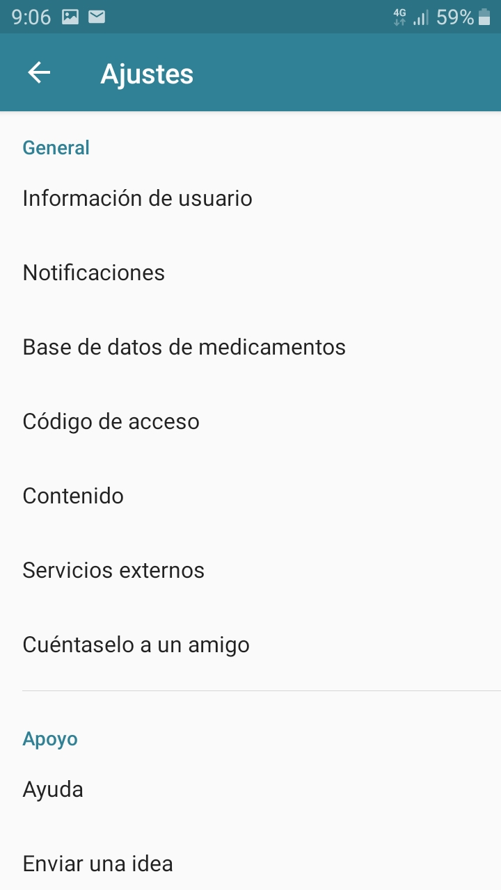 Settings section on Android