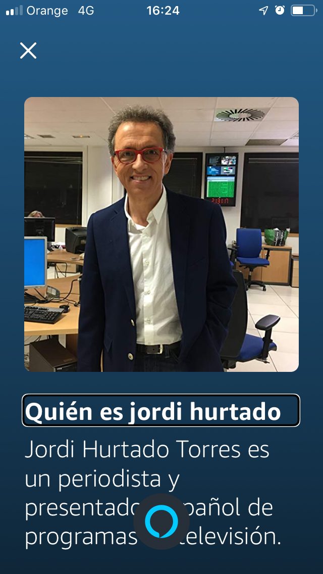 Screen that shows the question, who is Jordi Hurtado? and its answer