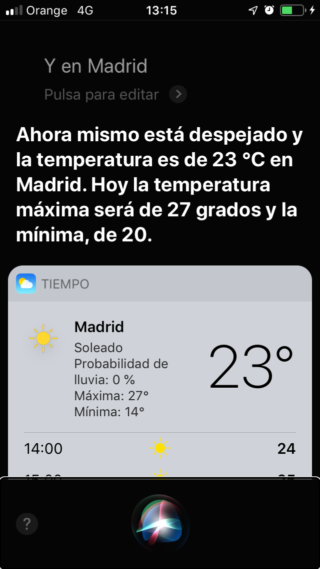 Screen that shows the weather in Madrid