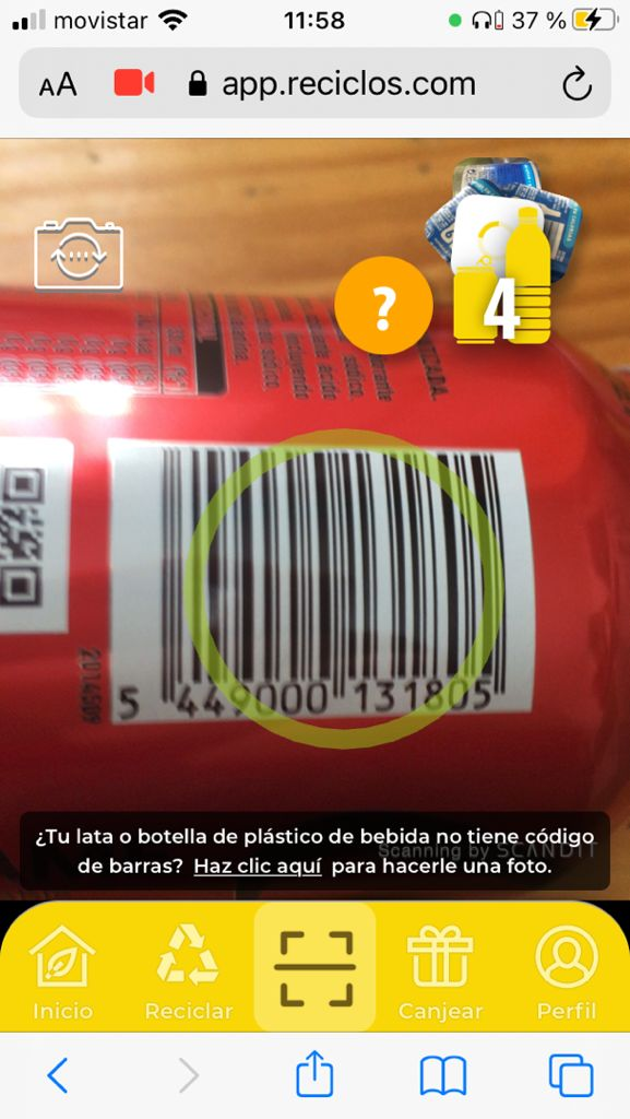 Scanning a can using Recycles