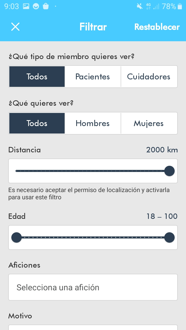 Example of filters available in the app