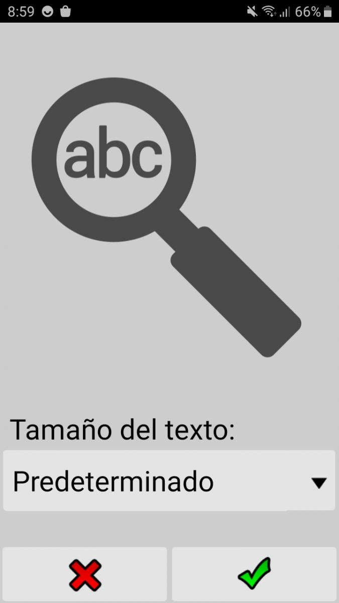 Select Text Size Interface